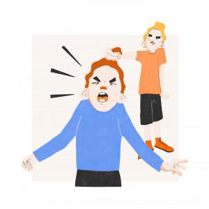Illustration zweier Geschwister, die sich streiten als Zeichen für Geschwisterrivalität